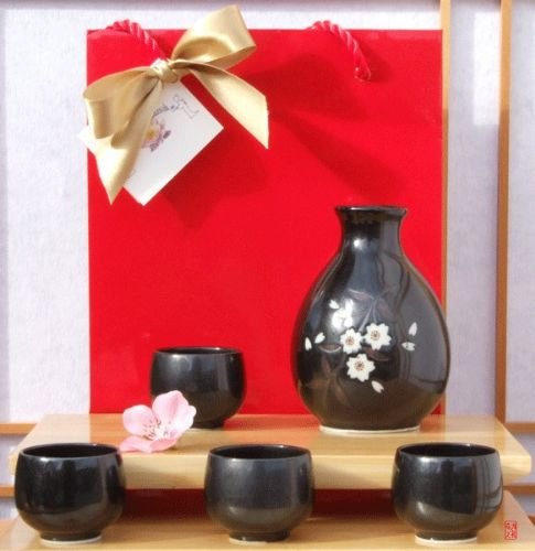 Gift Bag - Sake set Japanese metallic black plum blossom design 4 cups